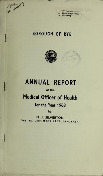 Cover of: [Report 1968] | Rye (England). Borough Council